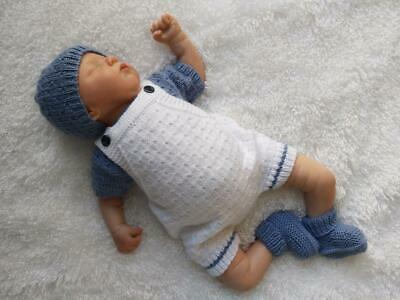 Gorgeous Hand Knitted T-Shirt & Romper Set for a Baby Boy or Reborn Doll