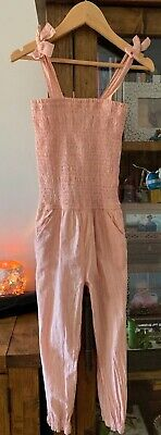 COUNTRY ROAD GIRLS  PANTSUIT JUMPSUIT PINK/ PEACH With GLITTER STIPE SIZE 7