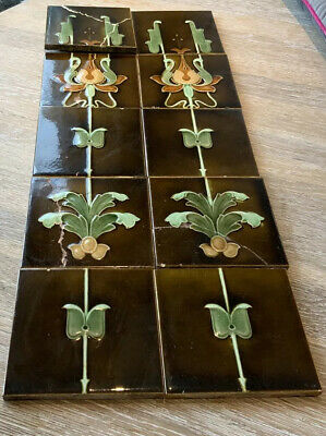 ♨️Antique Victorian Fireplace full Set of 10 Tiles - Arrange own Courier: