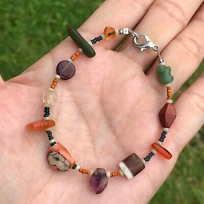 Rare Ancient Multi Color Glass Beads And Mix Stone Bead Bracelet 2-18mm #617