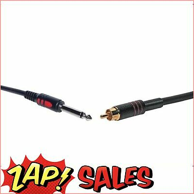 Redback Microphone Lead, 1m, 6.35mm TS Jack to RCA Male