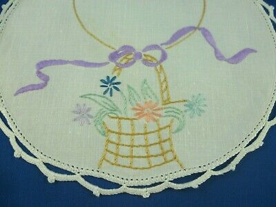 Vintage Hand Embroidered Floral Basket Small Round Doiley White Crocheted Edge