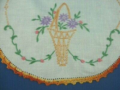 Vintage Hand Embroidered Basket Flowers Small Round Doiley Orange Crocheted Edge
