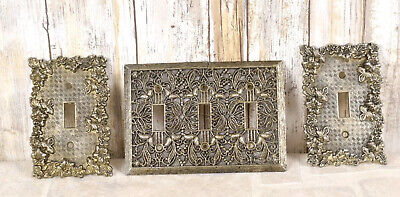 Lot (3)  Light Switch Cover Plate Ornate AMERICAN TACK 2 SINGLE 1 Triple