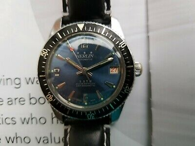 Herlin Divers Watch,(Rare)Manual Wind ,swiss made ,winds and sets easy, good con