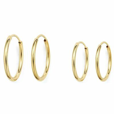 New 2 mm by 12 mm E7212-60 14K Solid Yellow Gold Hoop Earring