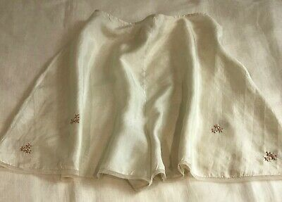 """1920s-30s FINE SILK FRENCH KNICKERS, HAND-EMBROIDERED ROSES 75 cm / 29.5"""" waist"""