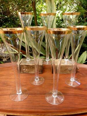 ART DECO c.1920 Hollow Stem CHAMPAGNE FLUTE Cocktail Glass x7 HAND MADE Gilt RIM