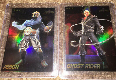 Marvel Contest of Champions Cards Dave Busters 2 RARE FOIL Aegon & Ghost Rider