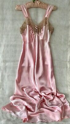 VINTAGE 1940s-50s LUXE SLINKY PINK SATIN & LACE NIGHTGOWN