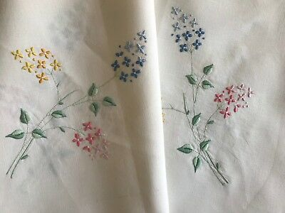 PRETTY ANTIQUE CREAM LINEN AFTERNOON TEA CLOTH, HAND-EMBROIDERY,  88cm square