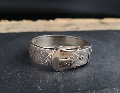 Antique Victorian silver buckle bangle, aesthetic, sterling silver bracelet