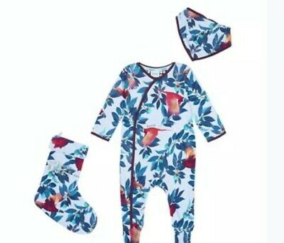 Ted Baker Baby Boys/ Girls Sleepsuit Babygrow Bib & Stocking Set 0-3 BNWT