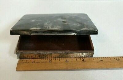Vintage Lutz Weiss Silver Plated & Wood Box,Cigarette, Cigar~LW 12