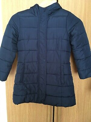 Mini boden girls fur-lined padded navy blue winter coat age 7-8