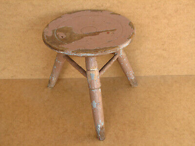 Old Antique Primitive Wooden Wood Chair Three Legged Milking Stool Tripod 1940's