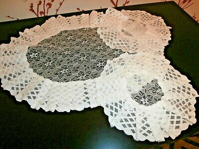 VINTAGE 1960's  RETRO SET of WHITE NYLON LACE TABLE MATS or DOILIES ~ FRILLED