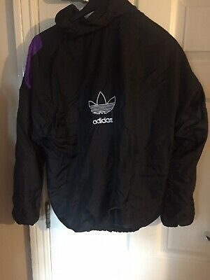 Vintage ADIDAS shell suit jacket - black and purple. Size XL.