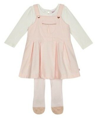 Ted Baker Baby girls' light pink pinafore, top and tights set BNWT 9-12
