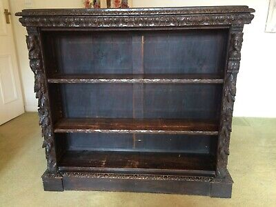 Antique Dark Oak Carved Open Bookcase
