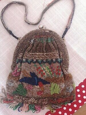 Unusual And Unique Colourful And Beaded Vintage Handbag Evening Bag
