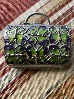 Judith Leiber For Neiman Marcus Womens Beaded Butterfly Silver Tone Pill Case