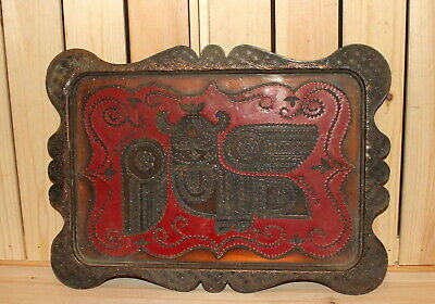 Antique Russian hand made ornate enamel copper serving tray