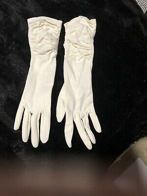 Vintage Ivory Long Ruched Gloves 40s 50s 60s Flapper Wedding Cruise Races VGC