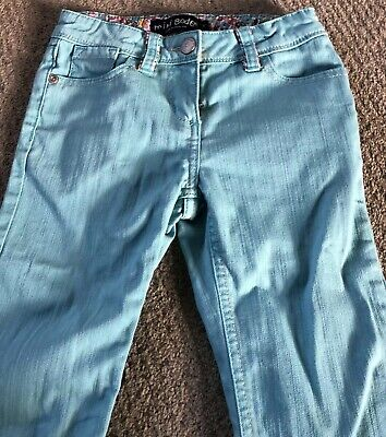 Mini Boden Girls Cropped Trousers Jeans Turquoise Adjustable Waist Age 7 Years