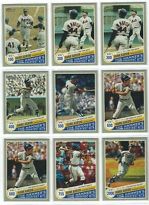 2019 Topps Heritage The Hammer's Greatest Hits Hank Aaron Lot (9 Cards)