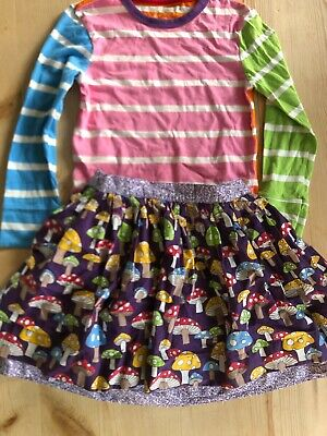 Little Bird by mothercare purple toadstall skirt and stripe top 5-6 years VGC