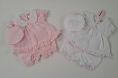 Premature Baby girls clothes broderie anglaise dress pants hat tiny baby 3-8 lbs