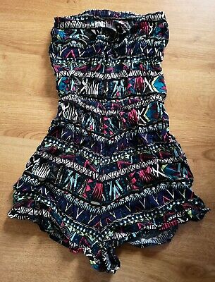 Girls/Womens Navy Blue Pink Aztec Print Playsuit Size 6 H&M