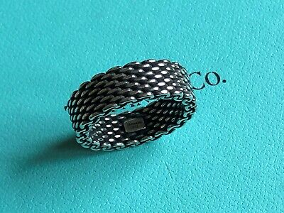 Tiffany & Co sterling silver SOMERSET oxidized mesh band ring size 7.5 NEW