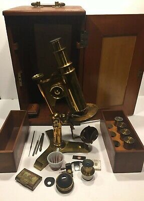 Antique BAUSCH & LOMB OPTICAL CO. Brass Microscope And Parts