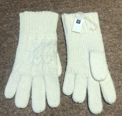 Gap Ladies White Knit Gloves New With Tags