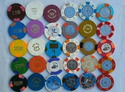 Lot of (30) Different Casino Chips $.25, $.50, $1.00, $5.00, $20.00, $100
