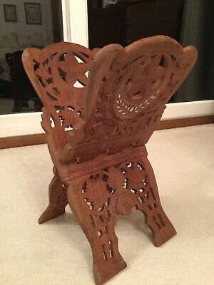 Wooden Book Stand, Carved and Inlaid, Folding, Excellent Condition