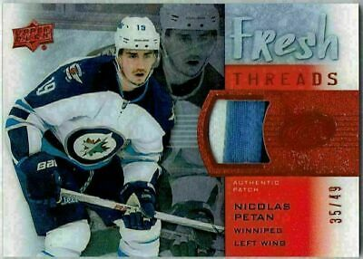 2015-16 UD Ice Fresh Threads Red Patch NICOLAS PETAN #FT-NP #35/49 Jets 3 CLR RC