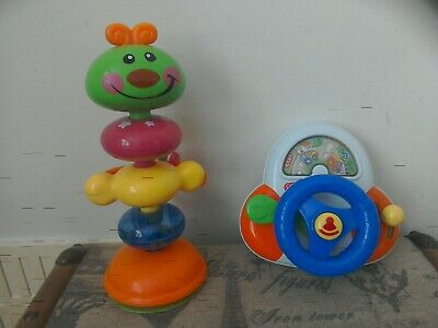 2 Babies Highchair Suction Activity Toys incl  Chad Valley Steering Wheel & Bug