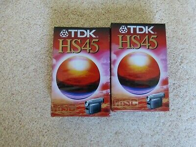 TDK HS45 VHS-C TWO x 45 MINUTES CAMCORDER VIDEO CAMERA CASSETTE TAPES NEW SEALED
