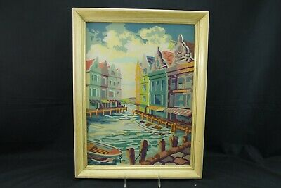 Paint By Number New England Seaport Buildongs Scene Glass Framed Vintage