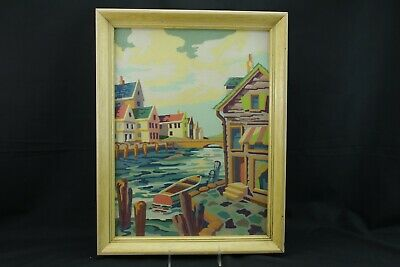 Paint By Number New England Seaport Boat Pier Scene Glass Framed Vintage