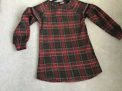 Girls Brushed Jersey Cotton Brown/red Tartan Check Tunic Dress Next Age 10 140cm