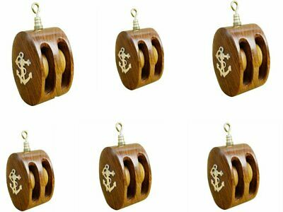 6X Small, Double Rope Pulley Block Wooden and Brass - Anchor Motif