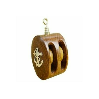 Small, Double Rope Pulley Block Wooden and Brass - Also Paperweight