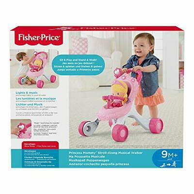 Fisher-Price Princess Mommy Stroll-Along Musical Walker, Baby Walker with Activi