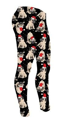 Kids / Girls Cute Santa Pug Dogs Print Leggings Size 5 -10 Years Pets Lover Xmas