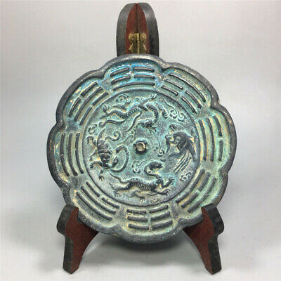 """5.91"""" Collection Chinese antique Handmade carving Dragon Phoenix Bronze mirror"""