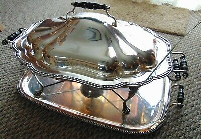 Silver Plate Double Handled Chafing Dish on Raised Footed Stand and Tray Poole